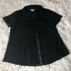 Sheer Black Striped Blouse!